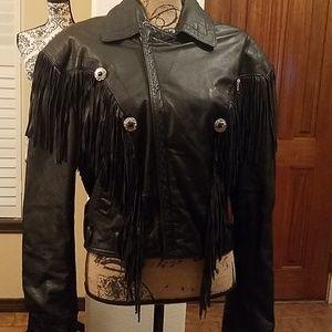 Retro 80's Fringe leather jacket